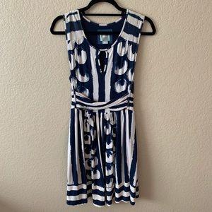 Maeve Blue/Cream Abstract Print Dress